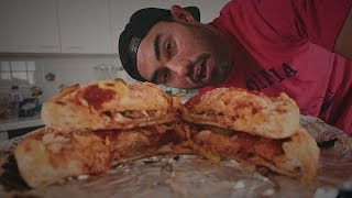 BURGER STUFFED PIZZA CHALLENGE!!