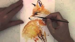 Como pintar un pequeño zorro con acuarelas
