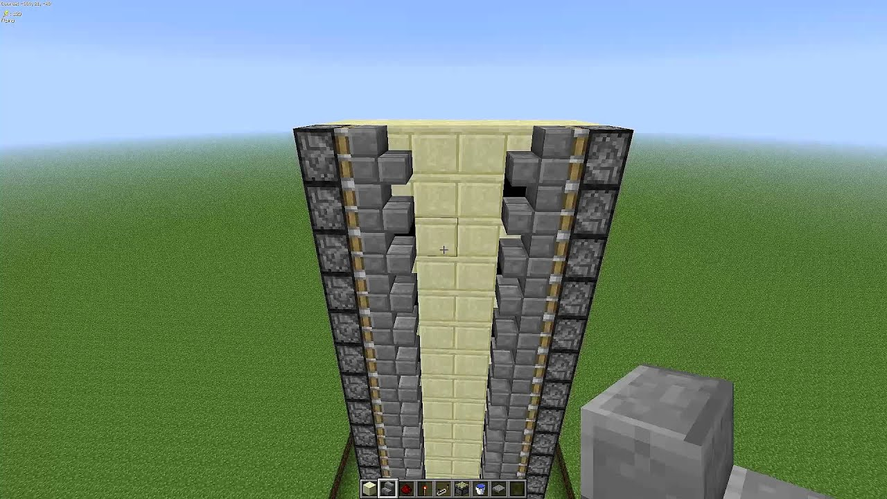 Minecraft 132 Zipper Elevator Tutorial Very Easy And Compact Schematic Youtube