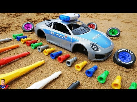 Learn Colors Police Car Toys and Assembling Vehicle for Kids