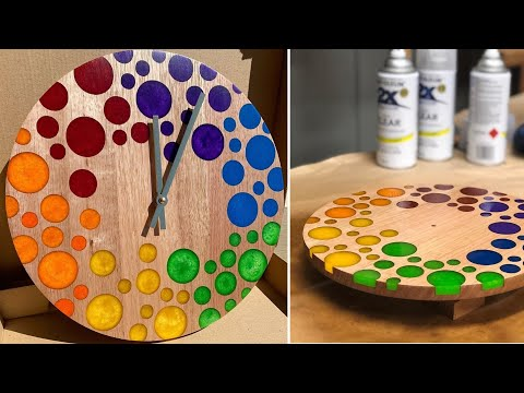 Unique wall clocks made of wood and resin