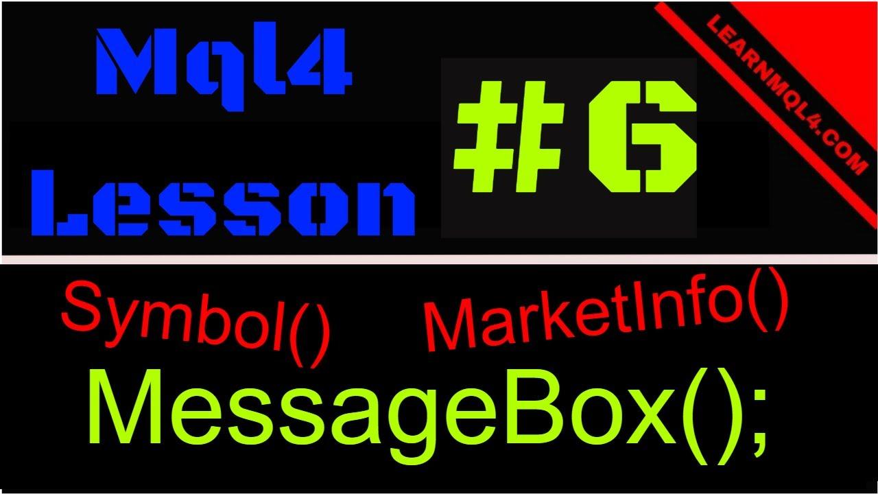 Mql4 Programming Lesson 6 Making A Message Box Youtube