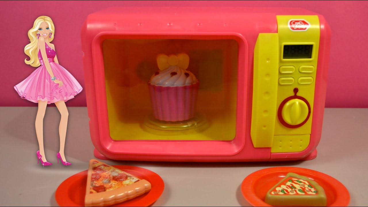 Mini Microwave Oven Kitchen Toy Set Barbie and Ken Dinner
