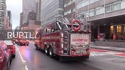 USA: Firefighters pay tribute to health workers fighting coronavirus in New York City