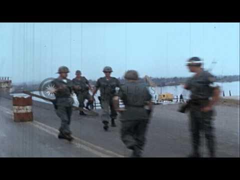 View of the damaged Newport Bridge in Saigon, South Vietnam. HD Stock Footage
