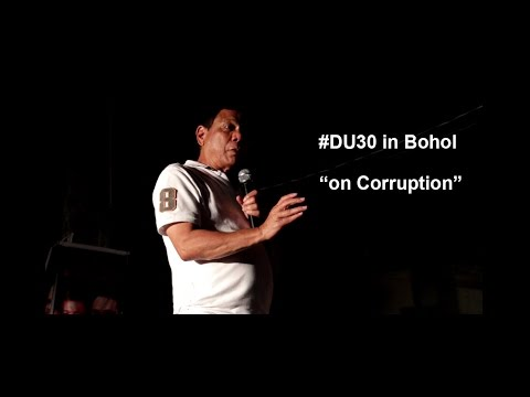 Duterte in Bohol -  Warning to Corrupt Govt. Officials