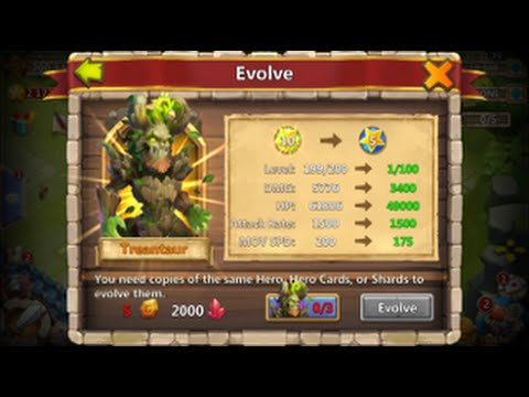Castle Clash Treantaur Evolved Level 200 Plus 5/5 Revite On Him