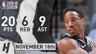 DeMar DeRozan Full Highlights Spurs vs Warriors 2018.11.18 - 20 Pts, 9 Ast, 6 Rebounds!