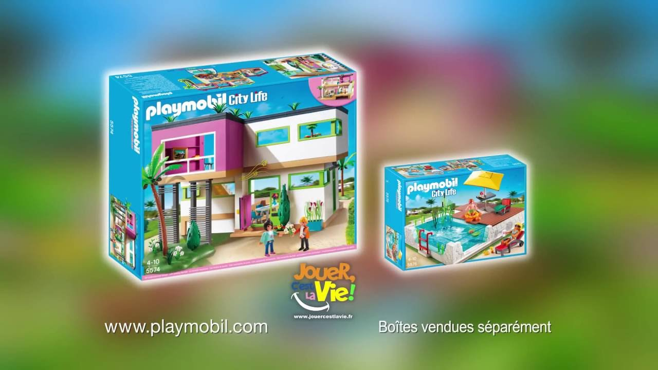 Playmobil city life la maison moderne 5574 5575 youtube for Maison moderne playmobil