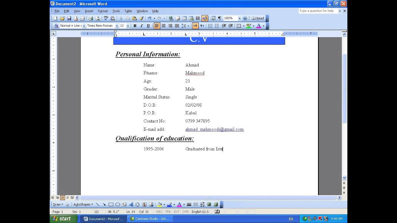 MS Word 2003 Part 29) C.V in Dari / Farsi Omar Akbari - YouTube