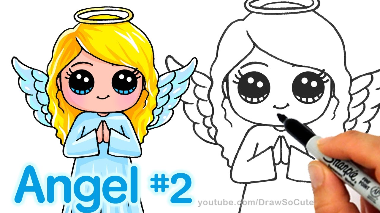 how to draw an angel step by step cute and easy youtube