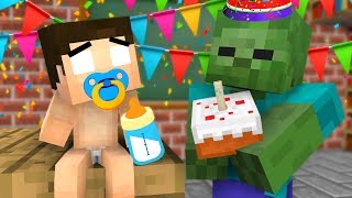 Monster School : Baby Herobrine Happy Birthday - Minecraft Animation