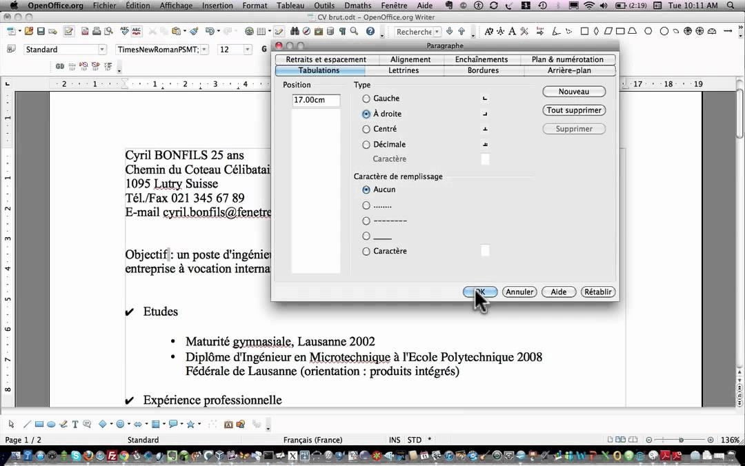 Openoffice writer tabulations youtube - Faire un camembert sur open office ...