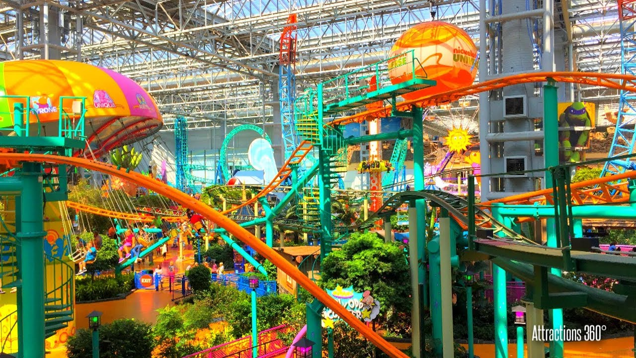 tour of the largest indoor theme park in america mall of america nickelodeon universe