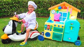 Child Vlad pretend play Toy Cafe on Wheels thumbnail