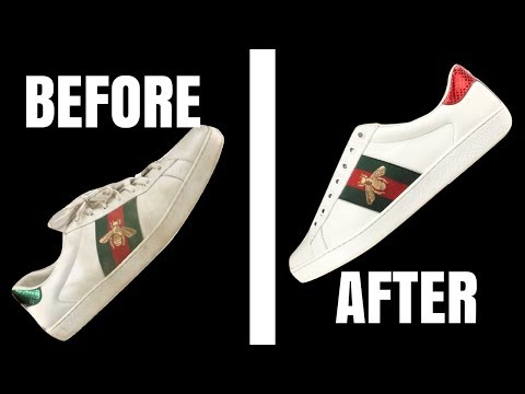 82325d7af4b20b ... How to Clean Gucci Ace White Leather Sneakers - MUST SEE Hacks for  Cleaning Leather Sneakers ...