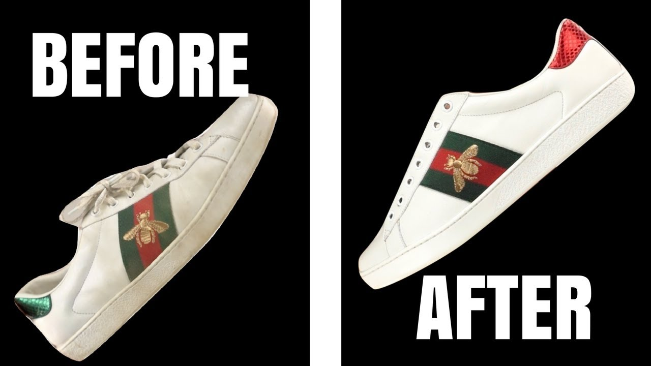 8fed31a2ad28 How to Clean Gucci Ace White Leather Sneakers - MUST SEE Hacks for Cleaning  Leather Sneakers