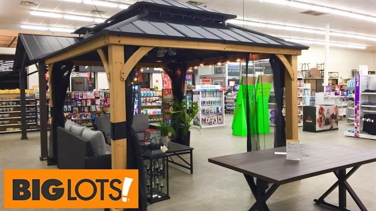 big lots gazebos patio furniture chairs outdoor decor shop with me shopping store walk through