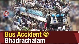 RTC bus accident   Bus fallen near Godavari river in Bhadrachalam - Khammam (21-05-2015)