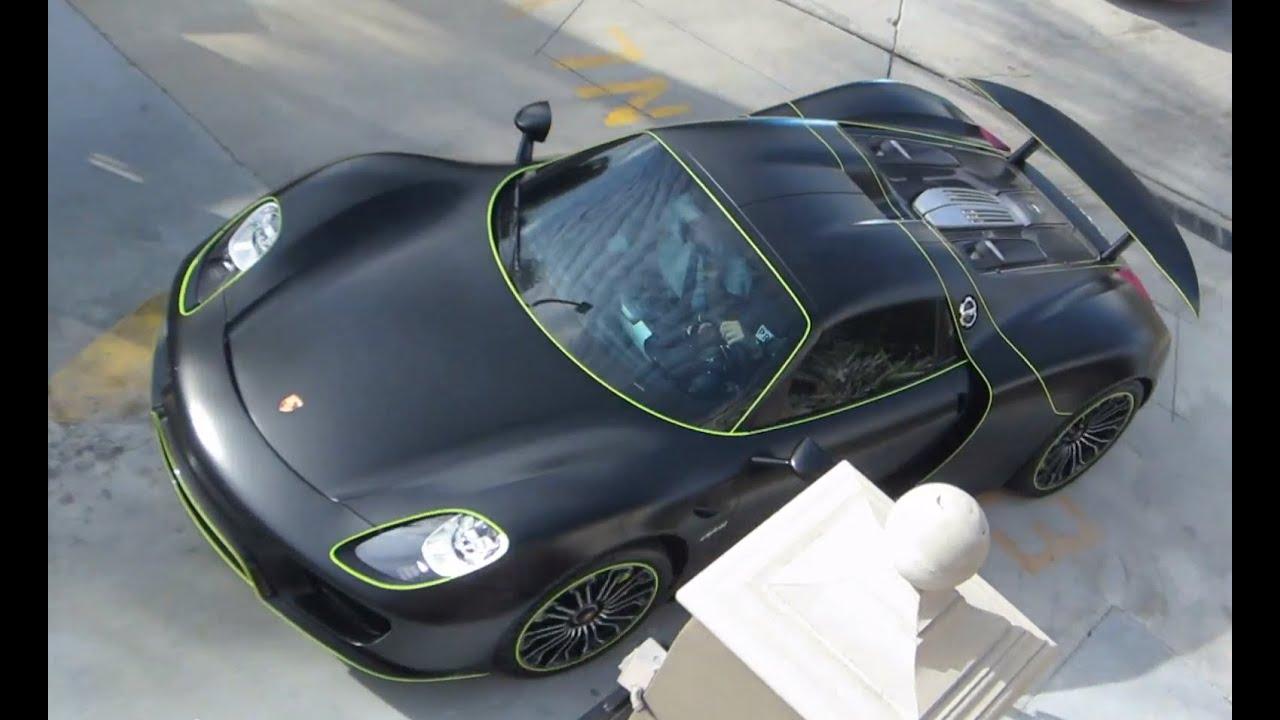 matte black green porsche 918 spyder youtube. Black Bedroom Furniture Sets. Home Design Ideas