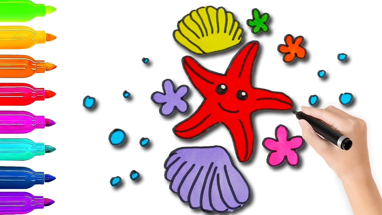 How to Draw Starfish Coloring Pages For Kids l Coloring Book Videos ...