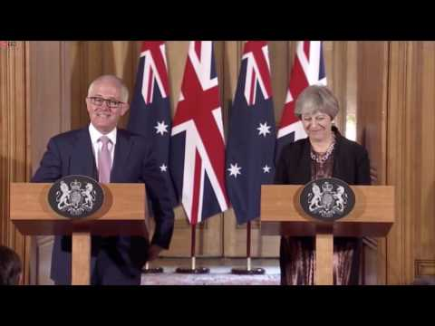 Theresa May and Malcolm Turnbull deliver a joint press conference