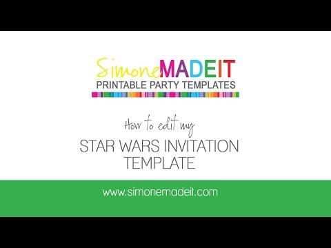 Editable Star Wars Invitations Tutorial - personalize using Adobe Acrobat Reader DC