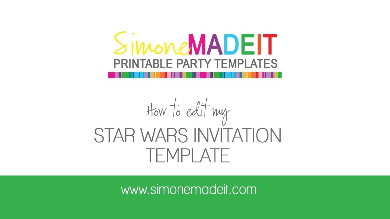 Editable Star Wars Invitations Tutorial personalize using Adobe