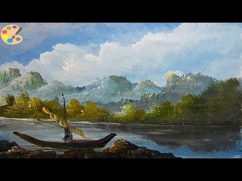 How to Draw Beautiful Mountain Lake   Acrylic Landscape Painting Lesson   Learn Videos For Kids