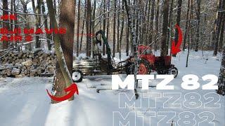 Zrywka drewna/MTZ82/DJI/Zima/Praca w lesie