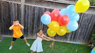 هايدي  باللعب والإع مع عملاق البالونات الملونة Heidi و Zidane