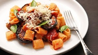 Recipe of Sicilian Style with Eggplant, Tomatoes, and Ricotta Salata Pasta Alla Norma