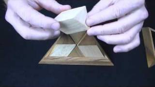 Pyramid wooden brain teaser puzzle 14 pc