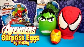 Avengers Toys - Play-Doh Surprise Egg Toys Opening and Spiderman Toys & Avengers Toys by KidCity
