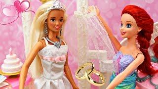 BARBIE WEDDING DRESS SHOP Disney Princess Mermaid Ariel & Frozen Elsa Vintage Doll Wedding Boutique
