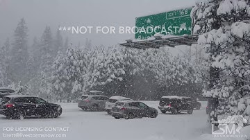 1-6-2018 Truckee, Ca I-80 Closed, nearing white out conditions, traffic backed up miles heavy snow