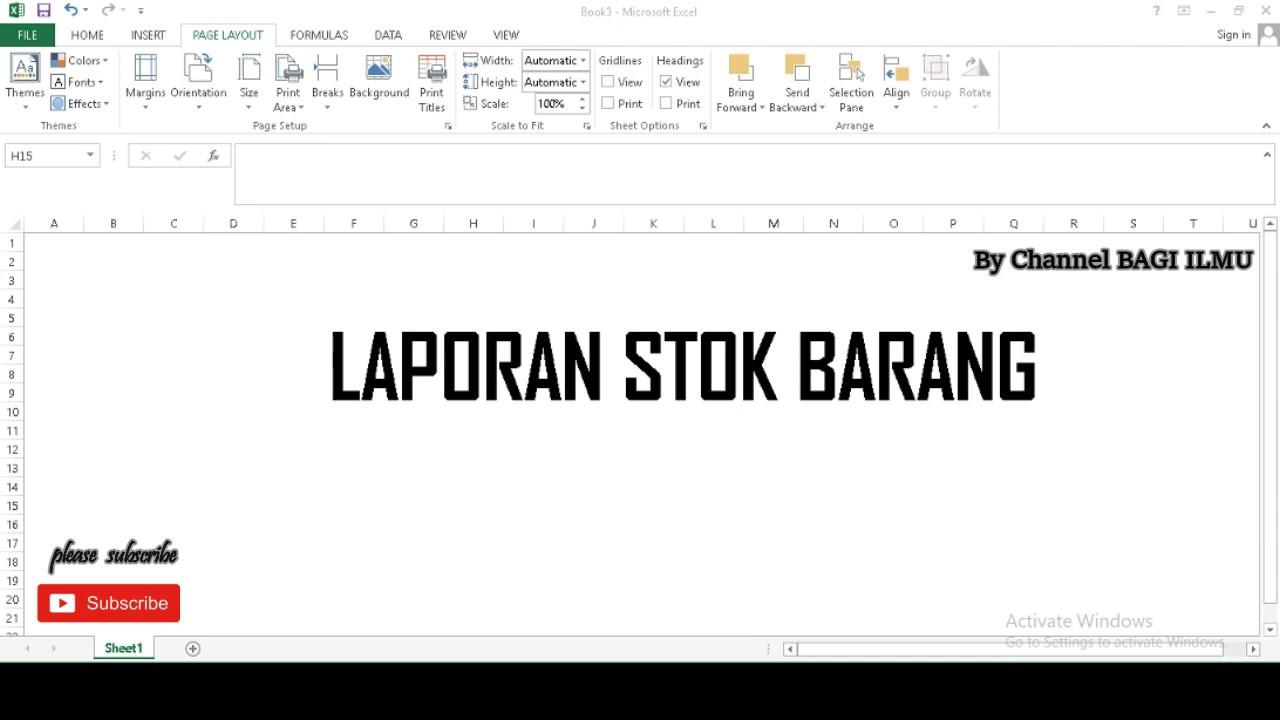 Cara Membuat Laporan Stok Barang Di Microsoft Excel Youtube