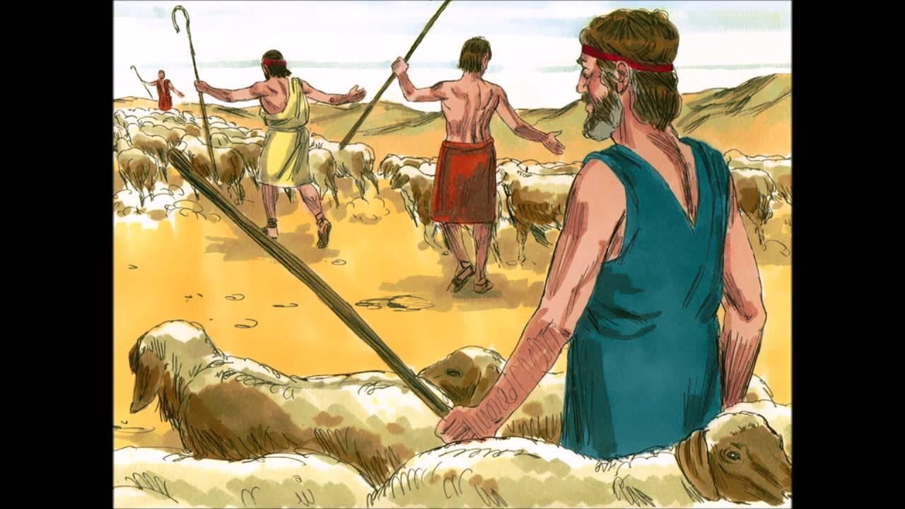 Laban, Jacob and Jacob's wives Rachel and Leah: Bible ...