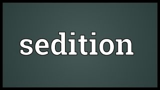Video shows what sedition means. organized incitement of rebellion or civil disorder against authority the state, usually by speech writing.. insurrect...