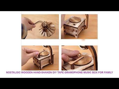 Nostalgic wooden HAND-SHAKEN DIY tape gramophone music box for family