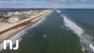 drone captures nor easter beach erosion at the jersey shore