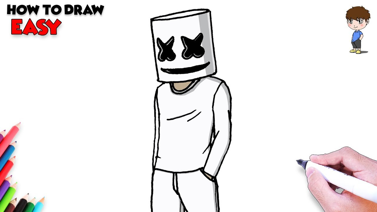 It is a picture of Sly Marshmello Coloring Pages