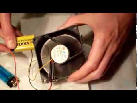 How to make a portable fan using a computer fan and a battery - YouTube