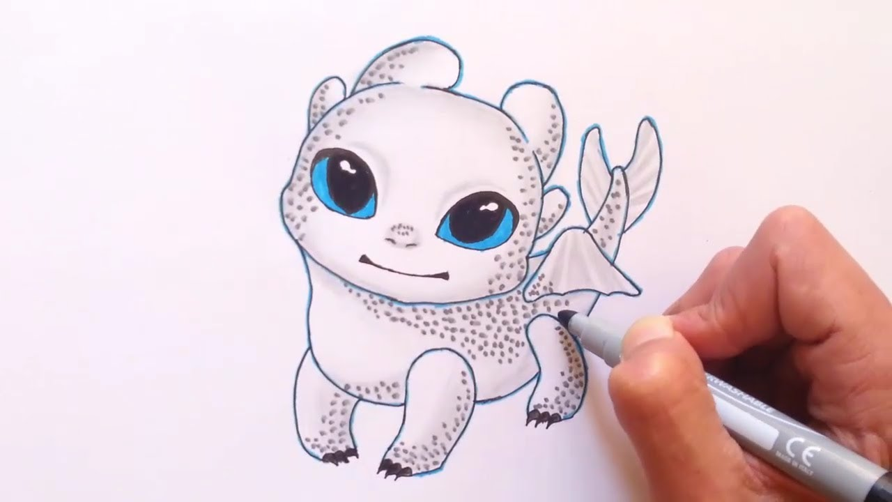 Drawing cute Light Fury - How To Train Your Dragon - white ...