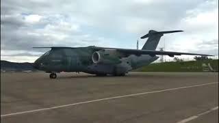 16/01: KC-390 decolou de Guarulhos/SP e pousou em Manaus/AM: mais 5 tanques de oxigênio líquido.