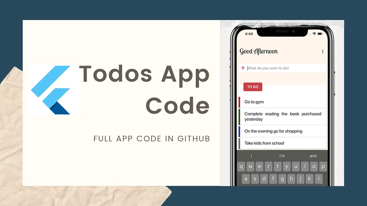 Flutter Tutorial - Todos App With Code 🙏