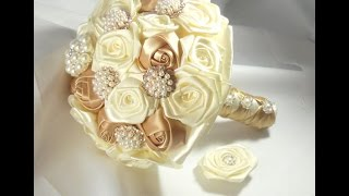 #1 DIY  Bridal  Brooch  Bouquet Fabric Flowers No Wires Easy Goldie KIT