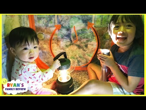 Thumbnail: Camping and Hiding from the storm and Lights went out+ Family Fun Kids Pretend Playtime