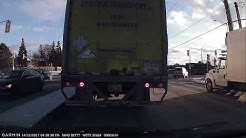 Central Transport - Aggressive Truck Driver cutting off drivers turning into left turn lane