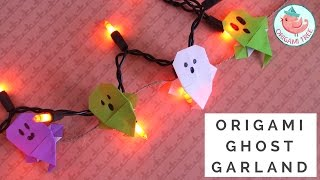 Origami Ghost Tutorial - DIY Garland Paper Craft - How to Fold An Origami Ghost for Halloween